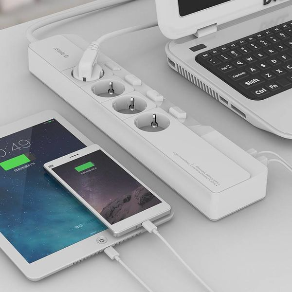 Orico USB power strip with 4 outlets and on / off switch - White