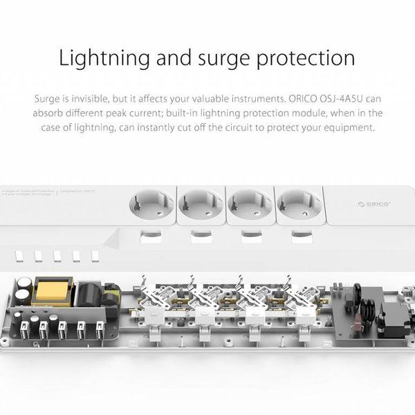 Orico USB-Steckdosenleiste mit 4 Steckdosen und Ein- / Ausschalter - Weiß