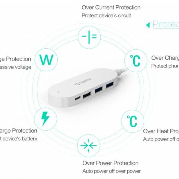 Orico Typ C-Hub mit 3 USB-A-Anschlüssen und 1x USB-C-Anschluss - Integriertes 30-cm-Kabel - LED-Anzeige - Weiß