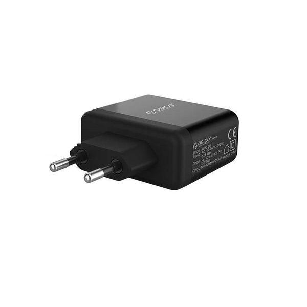 Orico Kompaktes Dual-Ladegerät - Reise- / Heimladegerät mit 2x USB-Ladeanschlüssen - IC-Chip - 15 W - Schwarz