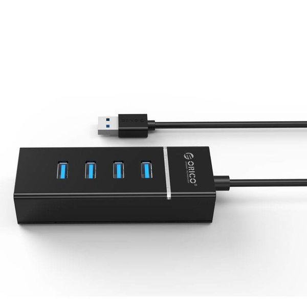 Orico Stilvoller USB 3.0-Hub mit 4 Anschlüssen - für Windows XP / Vista / 7/8/10 / Linux / Mac OS - LED-Anzeige - Schwarz