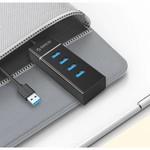 Orico Hub USB 3.0 élégant avec 4 ports - pour Windows XP / Vista / 7/8/10 / Linux / Mac OS - Indicateur LED - Noir