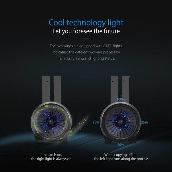 Orico Station d'accueil pour disque dur à deux baies avec fonction clone - mode veille intelligent - éclairage LED cool - Ventilateur puissant - Noir