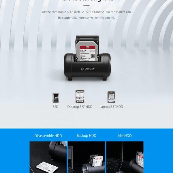 Orico Dual-Bay-Festplatten-Dockingstation mit Klonfunktion - intelligenter Schlafmodus - coole LED-Beleuchtung - Starker Lüfter - Schwarz
