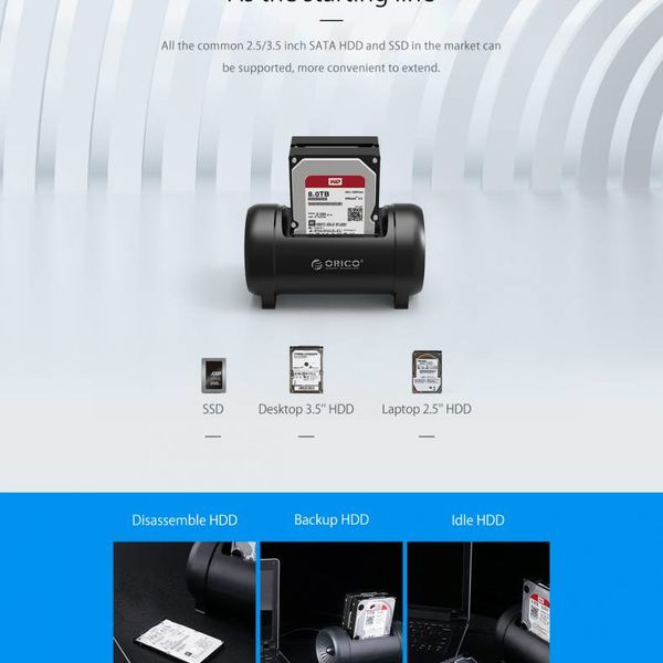 Orico Dual-bay harde schijf dockingstation met clone-functie - intelligente slaapmodus - gave LED-verlichting - Sterke ventilator - Zwart