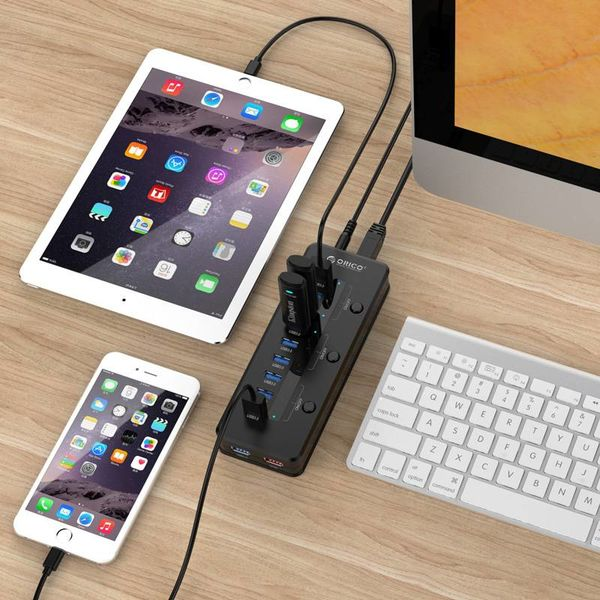 Orico 10 Port USB3.0 Hub with Smart Charging Port and 3 Power ON / OFF Switches