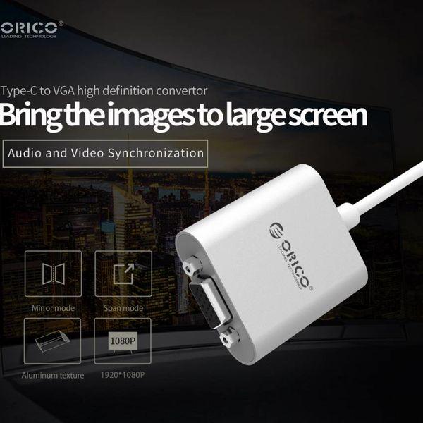 Orico Adaptateur aluminium Type-C vers VGA - Incl. Sortie audio - Style Mac - 1920 x1080P Full HD - Argent