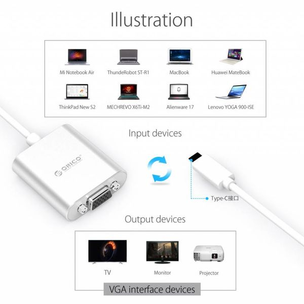 Orico Aluminum Type-C to VGA adapter - Incl. Audio output - Mac Style - 1920 x1080P Full HD - Silver