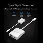 Orico Aluminum Type-C to RJ45 Gigabit Ethernet Adapter - with Power Delivery - Mac Style - 10/100 / 1000Mbps - Silver