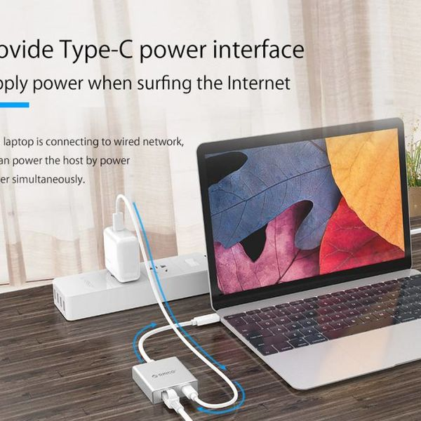 Orico Aluminium Type-C naar RJ45 Gigabit Ethernet Adapter - met Power Delivery - Mac Style - 10/100/1000Mbps - Zilver
