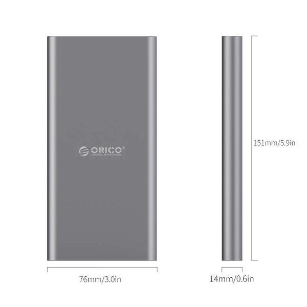 Orico Aluminium Type-C Powerbank met een capaciteit van 10000mAh - Fast Charge - IC chip - LED-indicator - Sky Grey