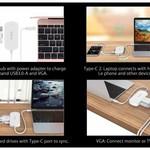 Orico Concentrateur 3-en-1 Type-C avec ports USB 3.0 Type-A, Type-C PD et VGA - Alimentation - Puce IC - Longueur de câble 30 CM - Blanc