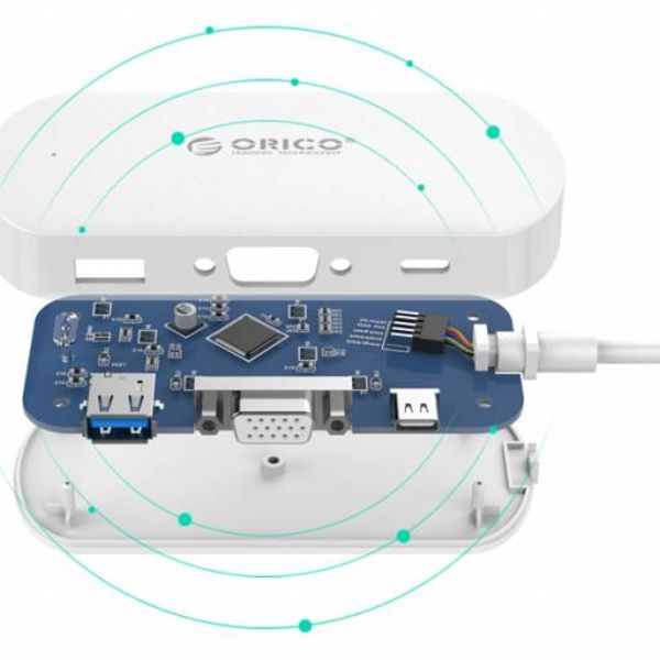Orico 3-in-1 Type-C hub with USB 3.0 Type-A, Type-C PD and VGA ports - Power Delivery - IC chip - Cable length 30 CM - White