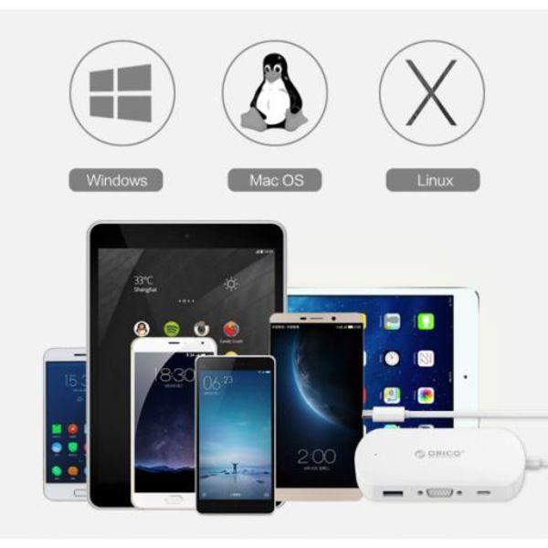 Orico Adaptateur 3 en 1 Type-C et USB 3.0 Type-A et HDMI 4K - Alimentation - Blanc