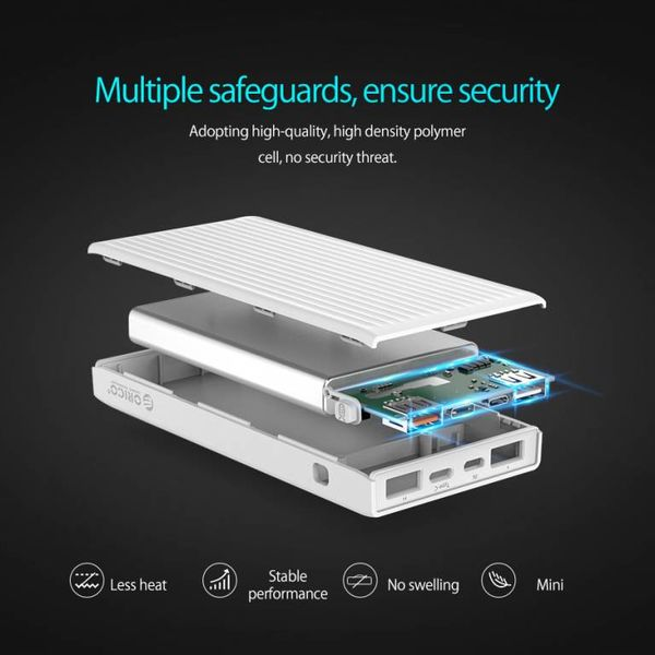 Orico Banque d'alimentation universelle à charge rapide - 10000mAh compatible avec le type C - Batterie Li-Po - Indicateur LED - Blanc