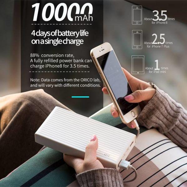 Orico Banque de puissance de charge rapide - 10000mAh - compatible avec le type C - Blanc