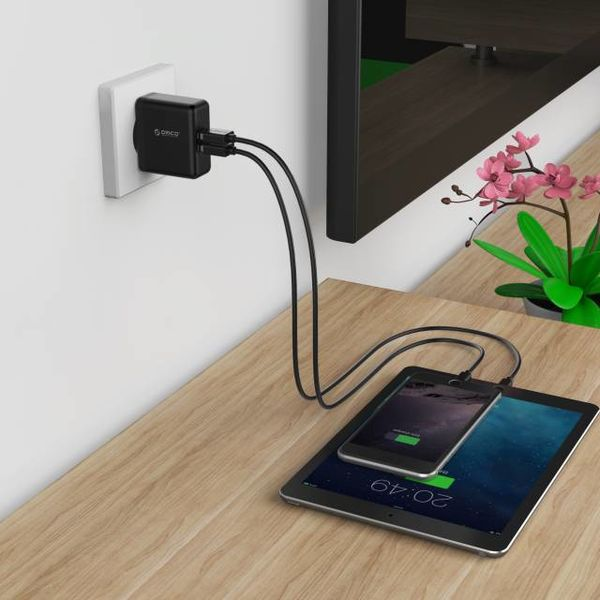 Orico Compact dual charger - travel / home charger with 2x USB charging ports - IC chip - 15W - Black