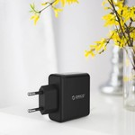 Orico Compact travel / home charger with 3x USB charging ports - 5V-2.4 per port - IC Chip - Black