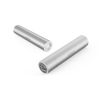 Orico Aluminium mini powerbank 3350mAh – Inclusief zaklamp – Zilver