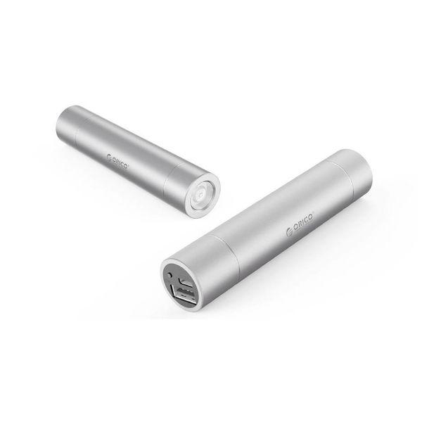 Orico Aluminium Mini Power Bank 3350mAh - Inklusive Taschenlampe - Silber