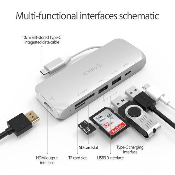 Orico Multifunktionaler USB3.0 Typ-C-Hub aus Aluminium - Stromversorgung - 4K HDMI - 2 x USB3.0 Typ A - SD / TF-Kartenleser - Silber