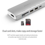 Orico Multifunctional aluminum USB3.0 Type-C hub - Power Delivery - 4K HDMI - 2 x USB3.0 Type-A - SD / TF card reader - silver