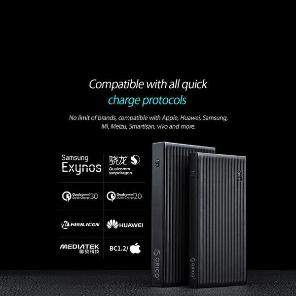 Orico Universelle Schnelllade-Powerbank - 20000mAh - Kompatibel mit Typ C - Li-Po-Akku - LED-Anzeige - Schwarz