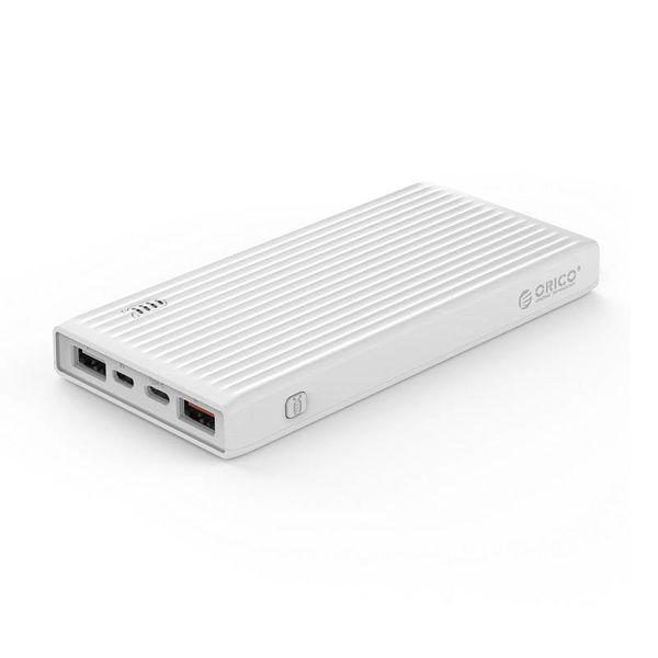 Orico Banque d'alimentation universelle à charge rapide - 20000mAh - Compatible avec le type C - Batterie Li-Po - Indicateur LED - Blanc