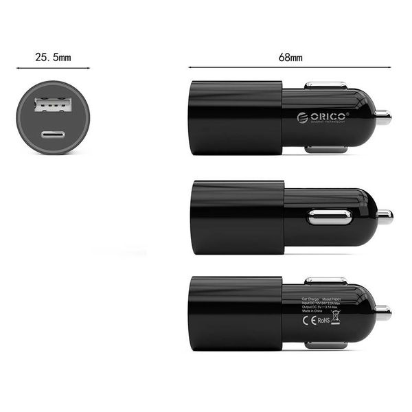 Orico Stylish car charger with USB-C and USB-A ports - Aluminum alloy - 12V / 24V - 5V-3.1A max. - Intelligent Chip - Black