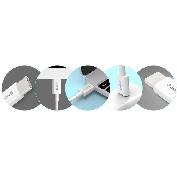 Orico Starkes Ladekabel Typ C bis Typ C - 3A Schnellladung - Kabellänge: 1 Meter - Weiß