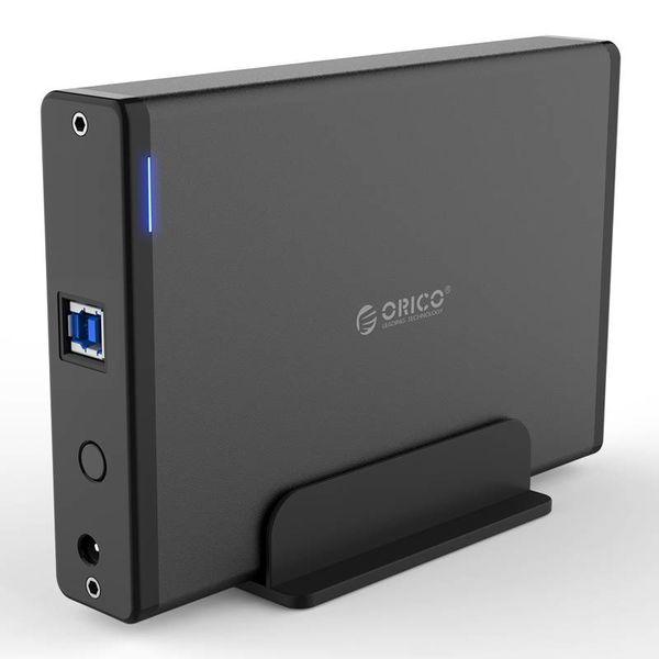 Orico Boîtier de disque dur USB 3.0 en aluminium avec verrouillage - 3,5 pouces - HDD / SSD - 5 Gbit / s - Indicateurs LED - Câble de données 1 M - Noir