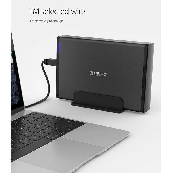 Orico Aluminium USB 3.0 Festplattengehäuse mit Schloss - 3,5 Zoll - Festplatte / SSD - 5 Gbit / s - LED-Anzeigen - 1M Datenkabel - Schwarz