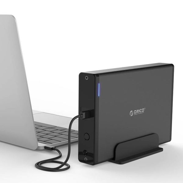 Orico Boîtier de disque dur en aluminium de type C avec verrou - 3,5 pouces - HDD / SSD - 5 Gbit / s - Indicateurs LED - Câble de données 1M - Noir
