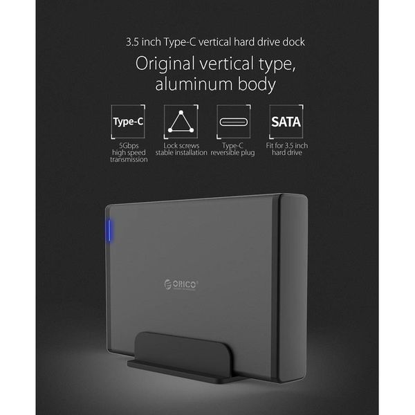 Orico Aluminium Type-C  Harde Schijf Behuizing met slot - 3.5 inch - HDD/SSD - 5Gbps - LED-indicatoren - 1M datakabel - Zwart
