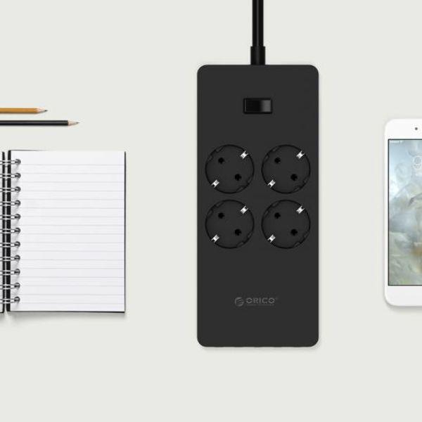 Orico USB-Buchse mit vier Sockeln und fünf USB-Ladeanschlüsse - 4000W - Schwarz