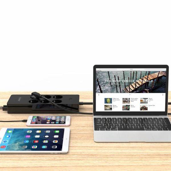 Orico Prise USB avec six prises et cinq ports de chargement USB - Noir