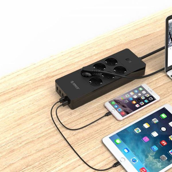 Orico USB power strip with six sockets and five USB charging ports - Incl. on / off switch - Black