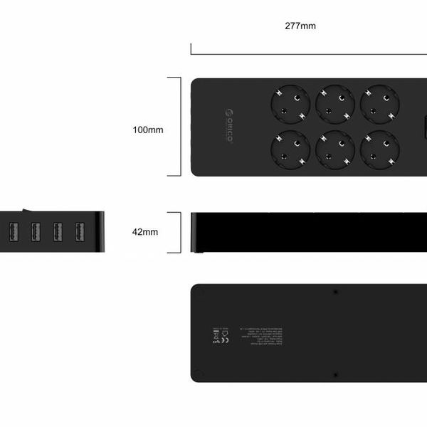 Orico USB stekkerdoos met zes stopcontacten en vijf USB-laadpoorten - Incl. aan/uit schakelaar - Zwart