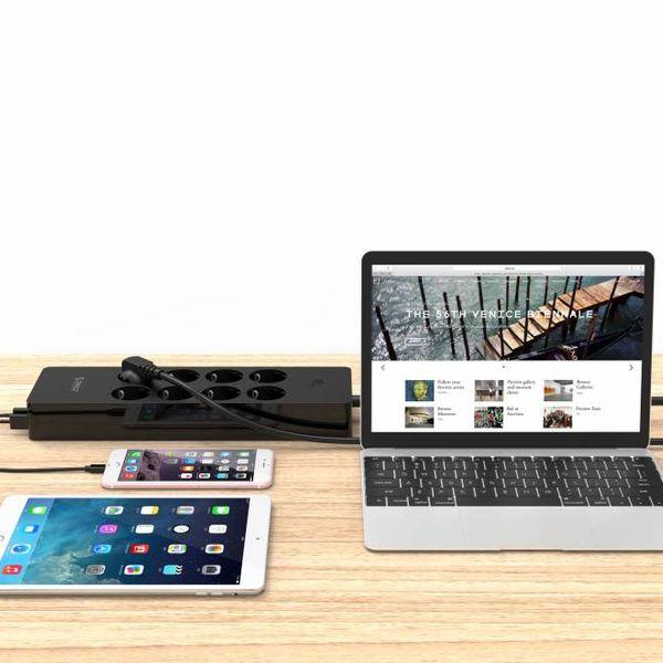 Orico multiprise avec huit prises et cinq ports de chargement USB - Incl. interrupteur marche / arrêt et parasurtenseur - Noir