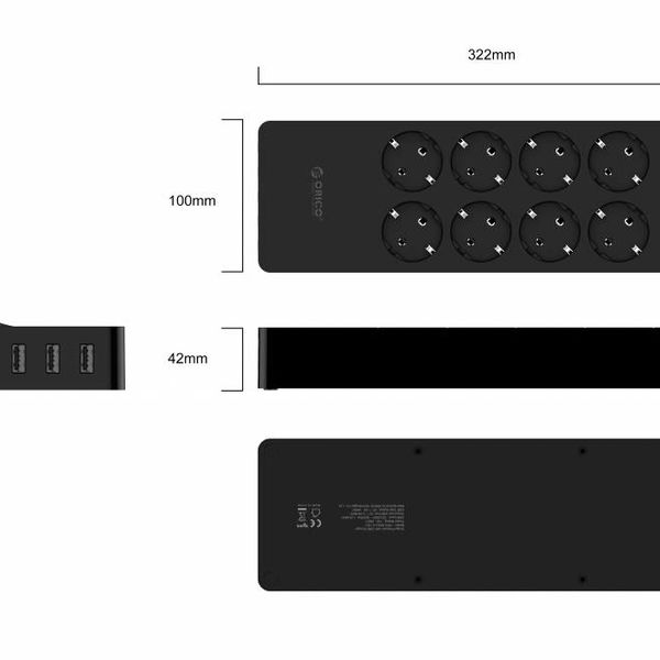 Orico power strip with eight sockets and five USB charging ports - Incl. on / off switch and surge protector - Black