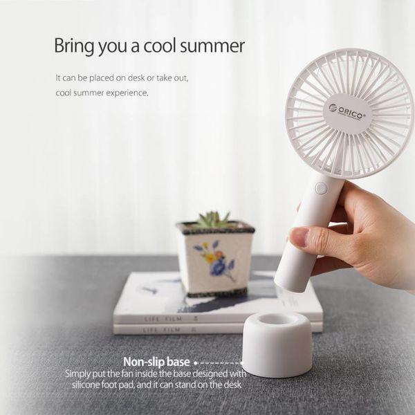 Orico Wiederaufladbarer Schreibtisch und tragbarer Lüfter - 3 Positionen - USB-Aufladung - 3 W - mit Halter - LED-Anzeige - Weiß