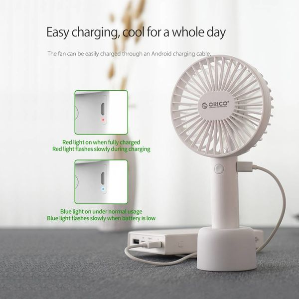 Orico Bureau rechargeable et ventilateur portable - 3 positions - Chargement USB - 3W - avec support - Indicateur LED - Blanc