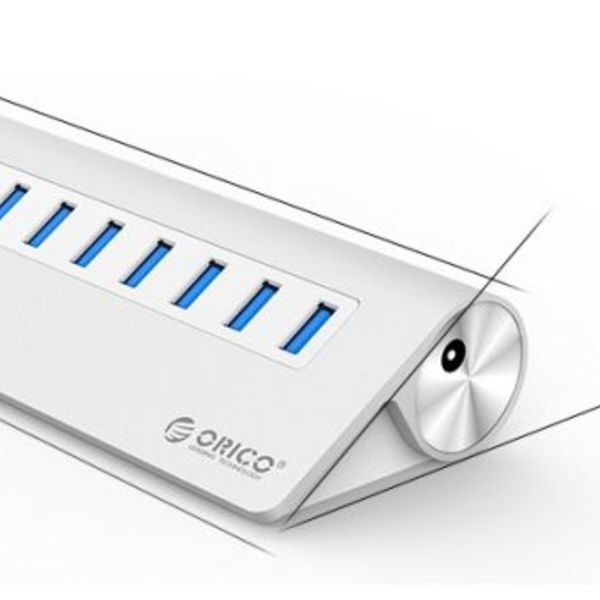 Orico Aluminum 10 Port USB 3.0 hub 5Gbps suitable for eg computer / laptop / MacBook / iMac - Silver
