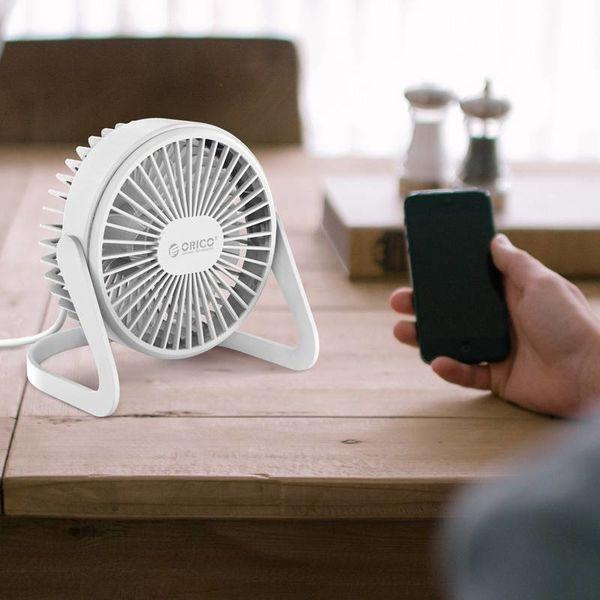 Orico Mini ventilateur USB - tourne à 360 degrés - 1,5 W - <35 dB - Incl. câble type A vers Micro B de 1M - Blanc