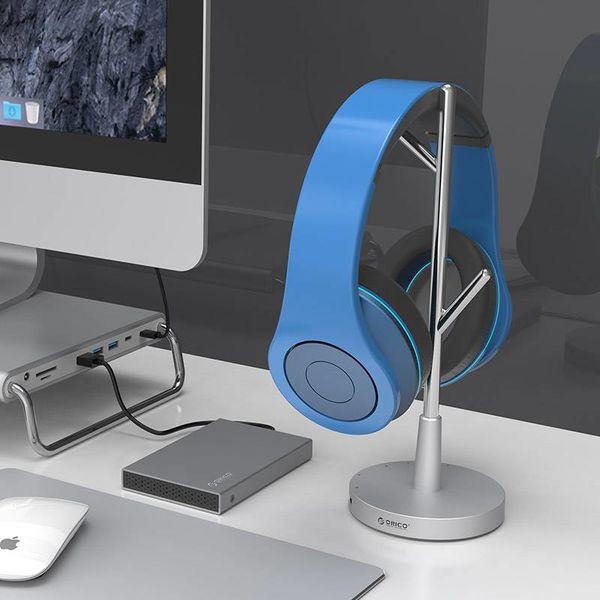 Orico Aluminium Type-C hub met koptelefoon houder - Power Delivery - 2x  USB3.0 en 2x Type-C poorten - Audio/Microfoon output - Zilver