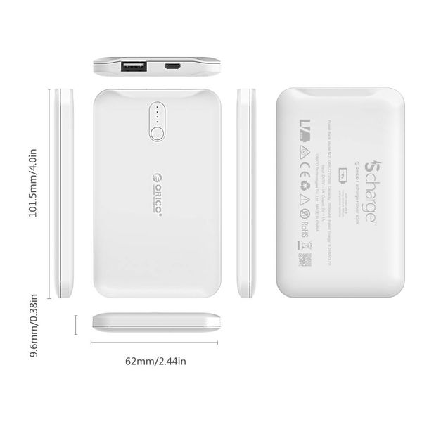 Orico 2500mAh Powerbank S-Charge Li-Po battery rechargeable including cable - white