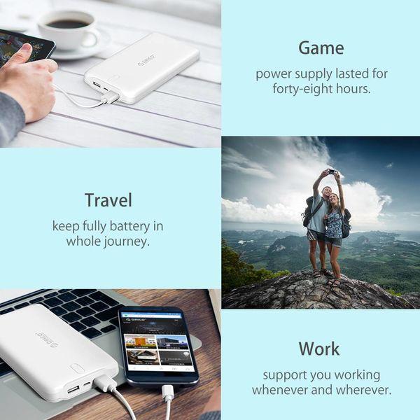 Orico 10000mAh Banque de puissance Li-Po 2.4A charge intelligente batterie externe Blanc