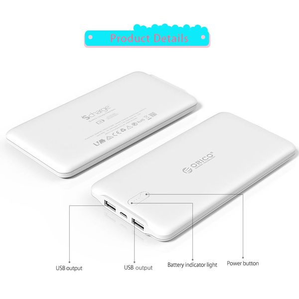 Orico 20000mAh Powerbank 2.4A Smart Charge including cable LiPo Battery External Battery-White