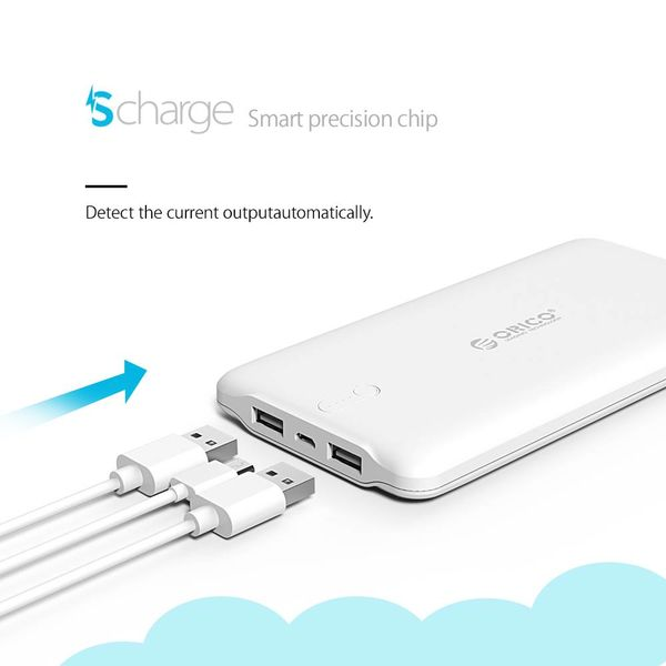 Orico 20000mAh Energien-Bank 2.4A Smartcharge einschließlich Kabel LiPo Batterie-externe Batterie -Weiße