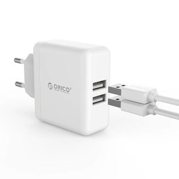 Orico Dual USB charger - travel / home charger with 2x USB charging ports - IC chip - 15W - White
